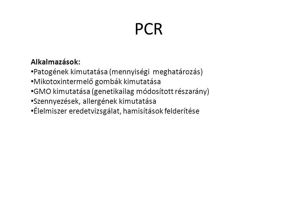 Alkalmazások: Patogének kimutatása (mennyiségi meghatározás) Mikotoxintermelő gombák kimutatása GMO kimutatása (genetikailag módosított részarány) Sze