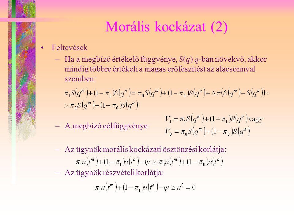Morális kockázat (2) Feltevések –Ha a megbízó értékelő függvénye, S(q) q-ban növekvő, akkor mindig többre értékeli a magas erőfeszítést az alacsonnyal
