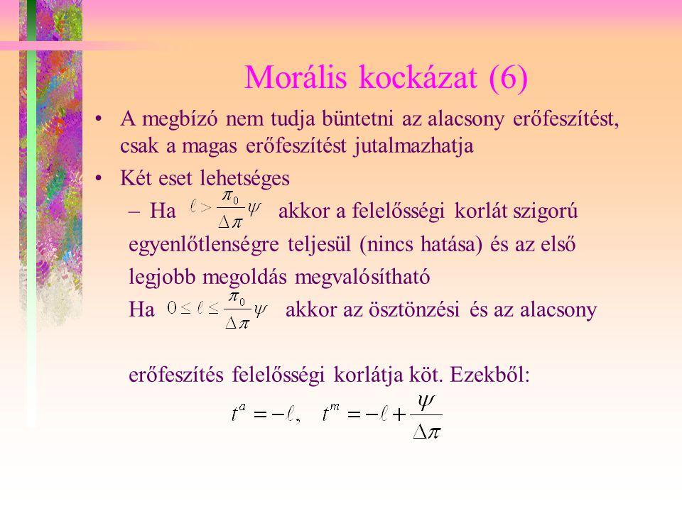 Morális kockázat (6) A megbízó nem tudja büntetni az alacsony erőfeszítést, csak a magas erőfeszítést jutalmazhatja Két eset lehetséges –Ha akkor a fe