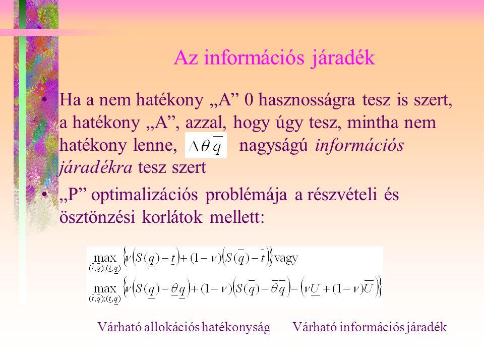 """Az információs járadék Ha a nem hatékony """"A"""" 0 hasznosságra tesz is szert, a hatékony """"A"""", azzal, hogy úgy tesz, mintha nem hatékony lenne, nagyságú i"""