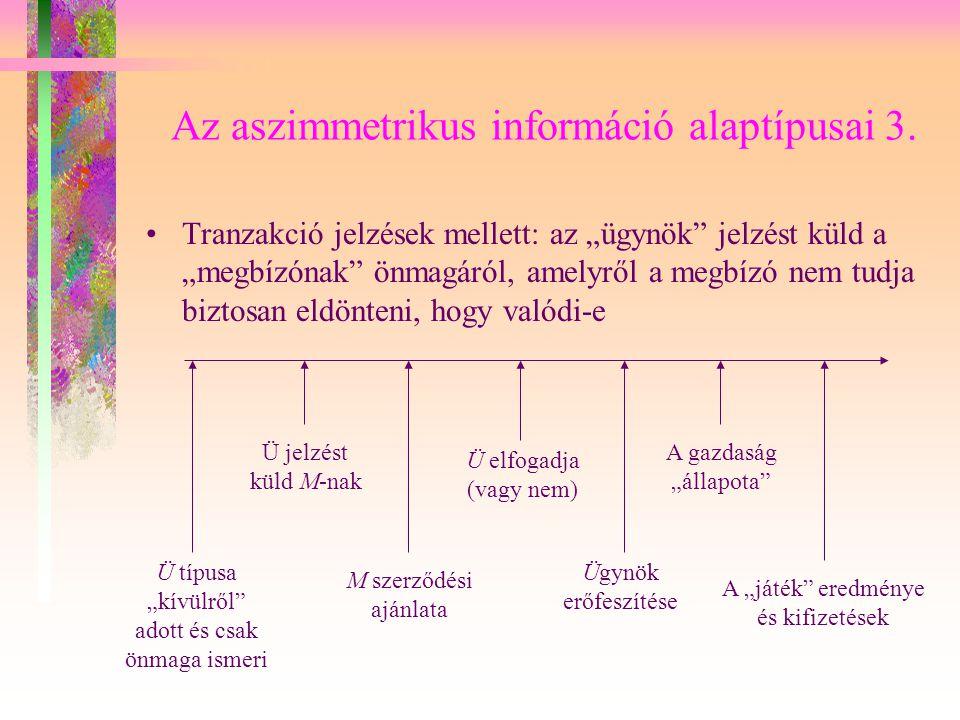 """Az aszimmetrikus információ alaptípusai 3. Tranzakció jelzések mellett: az """"ügynök"""" jelzést küld a """"megbízónak"""" önmagáról, amelyről a megbízó nem tudj"""