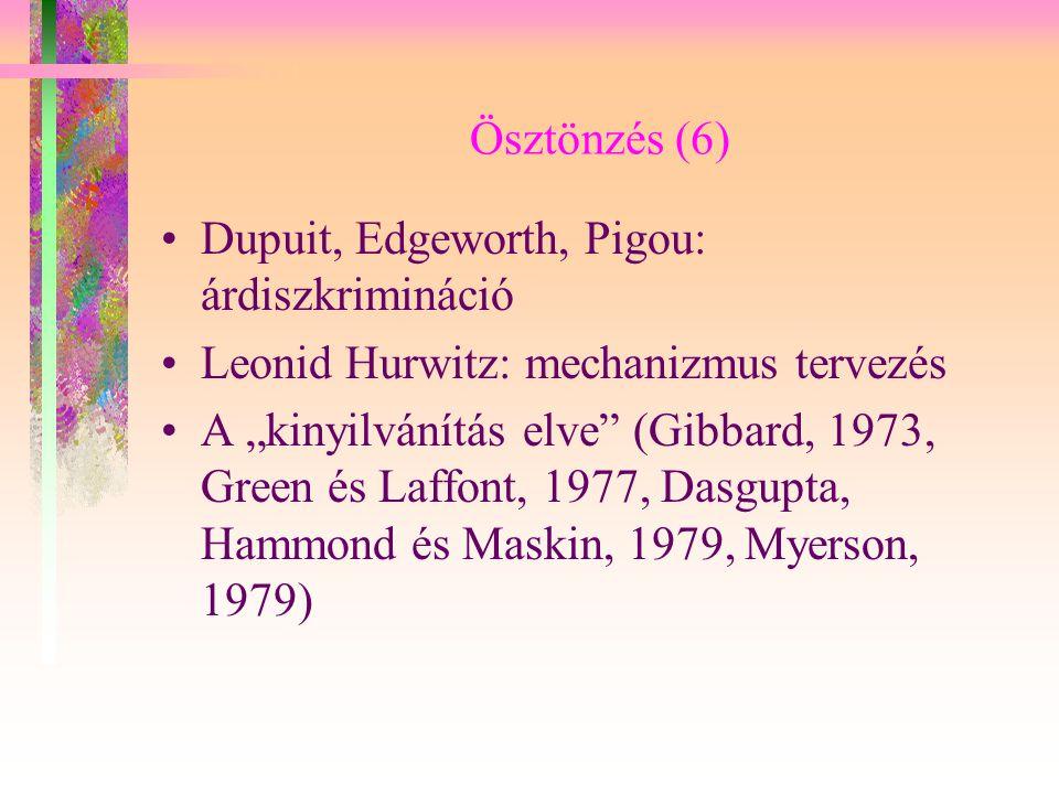 """Ösztönzés (6) Dupuit, Edgeworth, Pigou: árdiszkrimináció Leonid Hurwitz: mechanizmus tervezés A """"kinyilvánítás elve"""" (Gibbard, 1973, Green és Laffont,"""