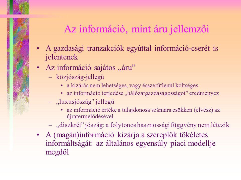 A piaci tökéletlenségek egyik fajtája: aszimmetrikus információ Döntések aszimmetrikus információ mellett Kontraszelekció Morális kockázat: a megbízó-ügynök modell Szignál (információs jelzés) Szűrés Köztudott tudás Az információs járadék