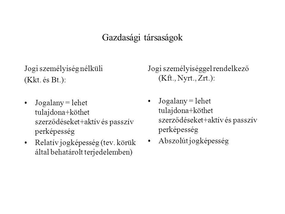 Gazdasági társaságok Jogi személyiség nélküli (Kkt. és Bt.): Jogalany = lehet tulajdona+köthet szerződéseket+aktív és passzív perképesség Relatív jogk