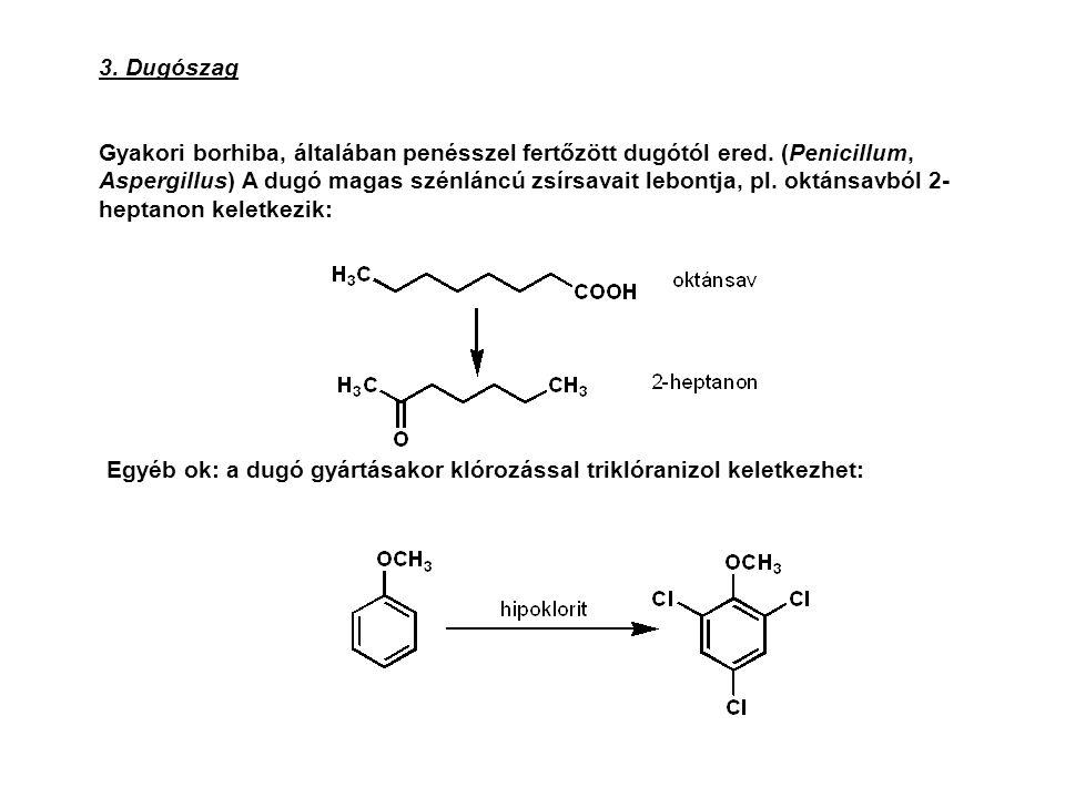 3. Dugószag Gyakori borhiba, általában penésszel fertőzött dugótól ered. (Penicillum, Aspergillus) A dugó magas szénláncú zsírsavait lebontja, pl. okt