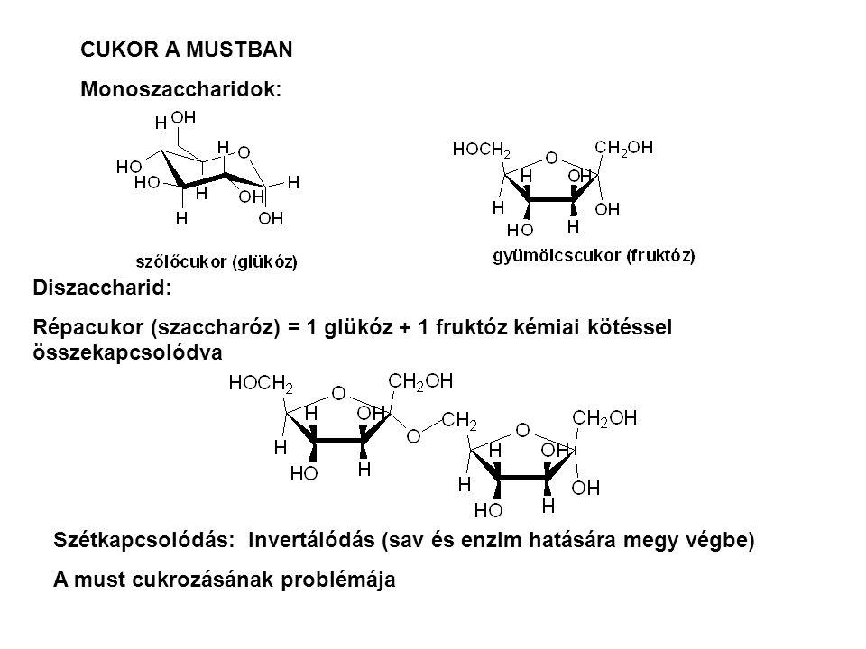 CUKOR A MUSTBAN Monoszaccharidok: Diszaccharid: Répacukor (szaccharóz) = 1 glükóz + 1 fruktóz kémiai kötéssel összekapcsolódva Szétkapcsolódás: invert