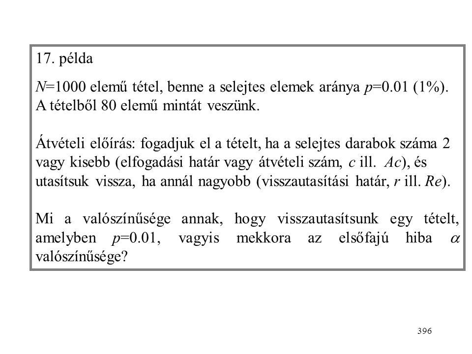 """397 Akkor használható, ha a vett minta eleme kétféle lehet (""""igen/nem )."""