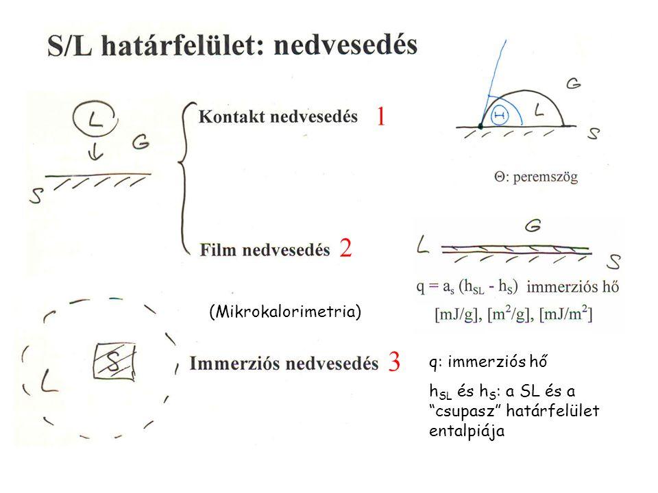 """(Mikrokalorimetria) q: immerziós hő h SL és h S : a SL és a """"csupasz"""" határfelület entalpiája"""