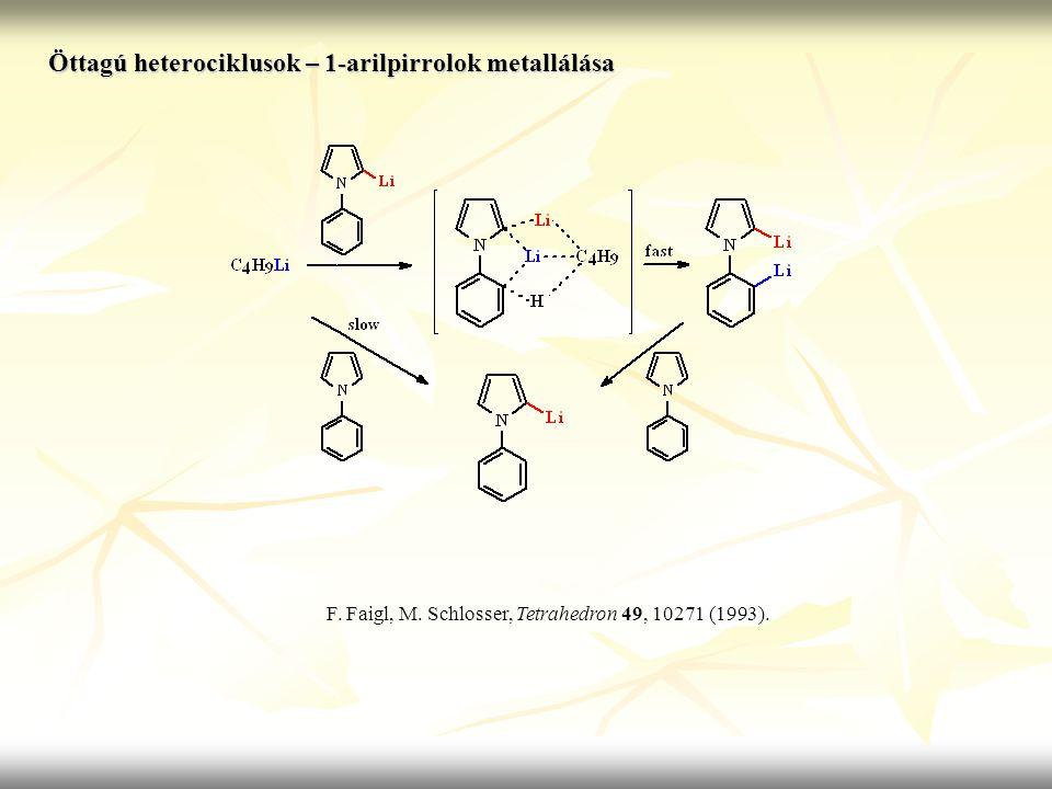 Öttagú heterociklusok – 1-arilpirrolok metallálása F. Faigl, M. Schlosser, Tetrahedron 49, 10271 (1993).