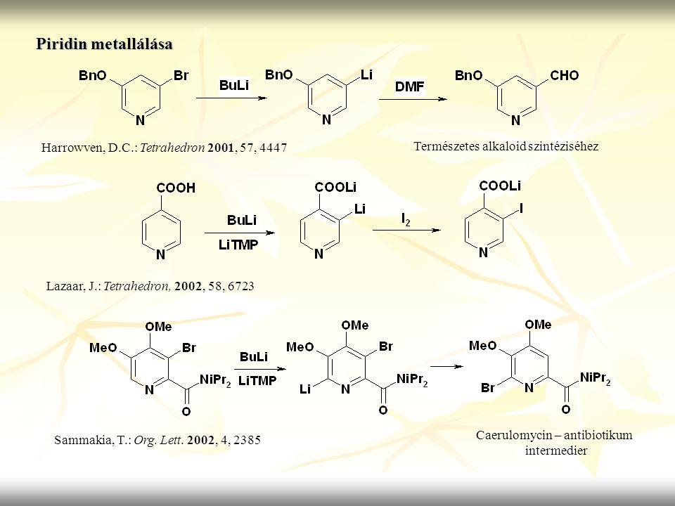 Piridin metallálása Harrowven, D.C.: Tetrahedron 2001, 57, 4447 Lazaar, J.: Tetrahedron, 2002, 58, 6723 Sammakia, T.: Org. Lett. 2002, 4, 2385 Termész