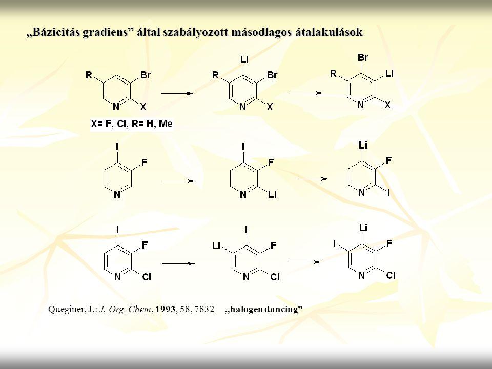 """""""Bázicitás gradiens"""" által szabályozott másodlagos átalakulások Queginer, J.: J. Org. Chem. 1993, 58, 7832 """"halogen dancing"""""""