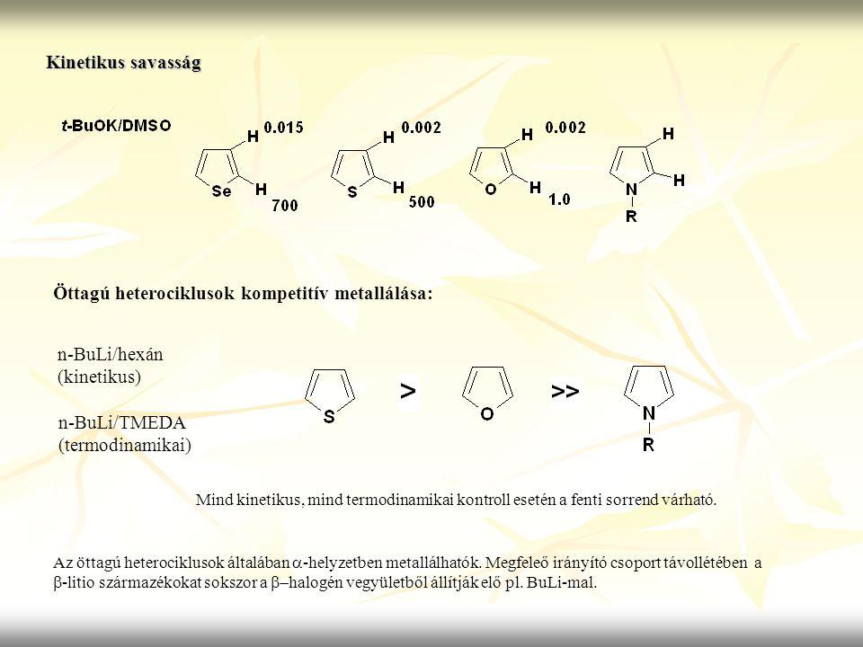Kinetikus savasság Öttagú heterociklusok kompetitív metallálása: n-BuLi/hexán (kinetikus) n-BuLi/TMEDA (termodinamikai) Mind kinetikus, mind termodina