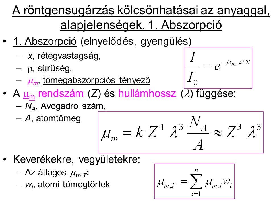 Eltérések a  m ~ 3 összefüggéstől: Abszorpciós élek ( =hc/E): K-, L I -, L II -, L III -, M I-V, N I-VII,...