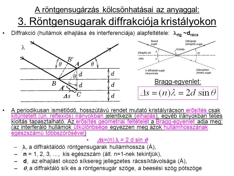 Diffrakció egykristályokon  állandó, ismert hullámhosszúságú monokromatikus sugárzással –Adott kristályra jellemző szubmikroszkópikus rácssíktávolságok d i meghatározhatók az egyes  i,n -k mérésén keresztül: Az összes lehetséges eltérülési irányt, ill.