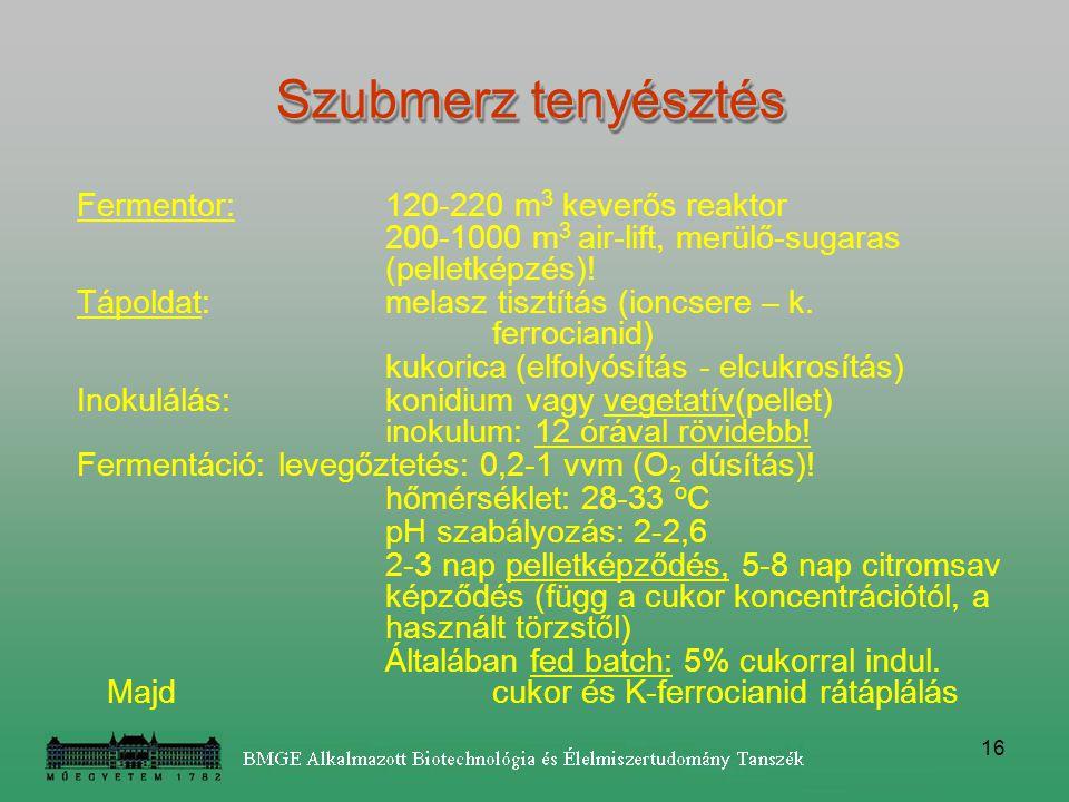 16 Fermentor: 120-220 m 3 keverős reaktor 200-1000 m 3 air-lift, merülő-sugaras (pelletképzés)! Tápoldat: melasz tisztítás (ioncsere – k. ferrocianid)