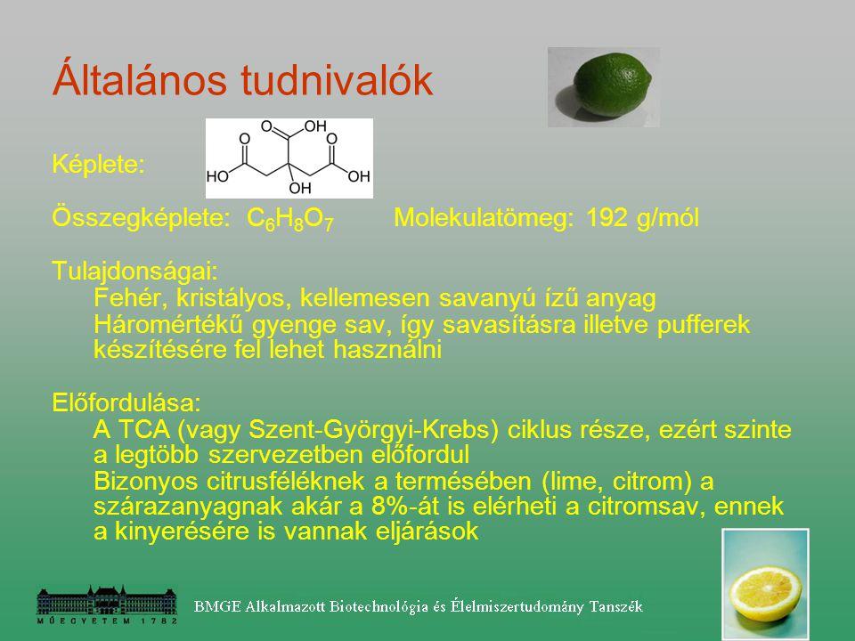 13 pH: a melléktermékek képződését – fertőzési kockázatot befolyásolja Optimális pH=1.5 – 2.8 pH < 3 csak citromsav-képződés (az extracelluláris glü- kóz-oxidáz inaktiválódik) pH = 6 felett oxálsav képződés pH = 3-6 oxál- és glükonsav képződés is ha nincs pufferolva a közeg, a pH gyorsan 3 alá megy – de a melasz erősen pufferol  savanyítás kénsavval ilyen savas közegben kicsi a befertőződés veszélye.