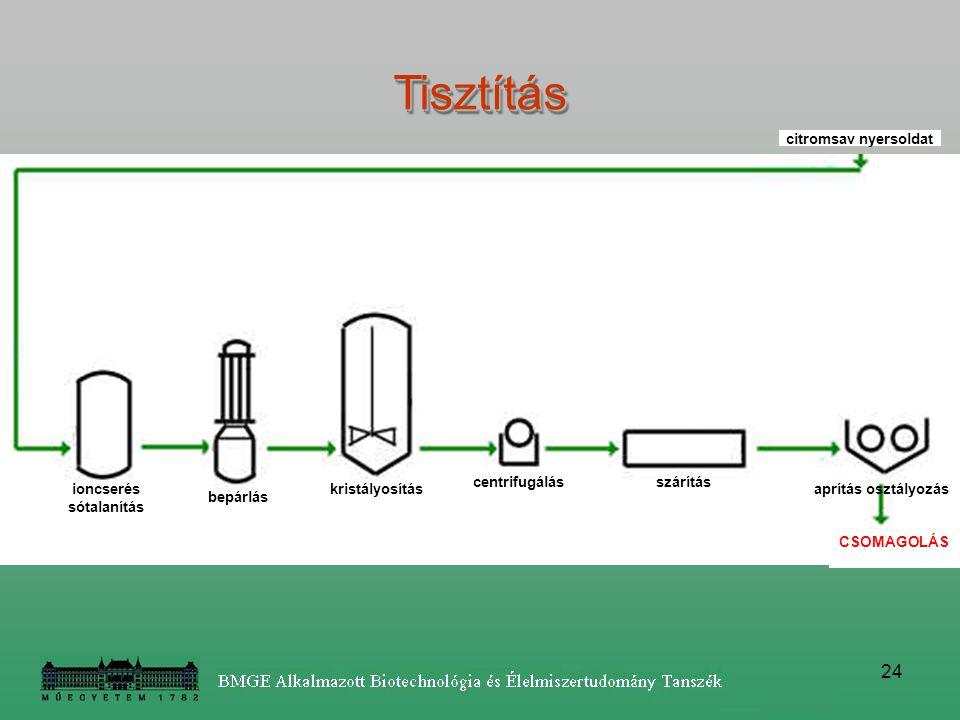 24 ioncserés sótalanítás bepárlás kristályosítás centrifugálásszárítás aprítás osztályozás CSOMAGOLÁS citromsav nyersoldatTisztításTisztítás