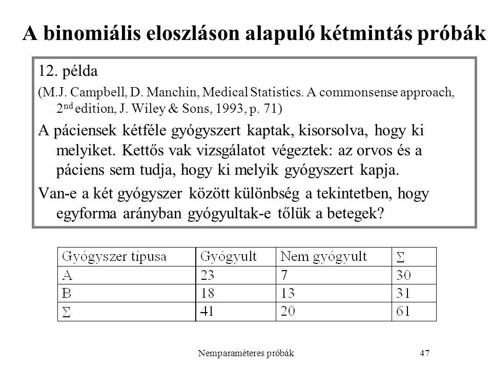 Nemparaméteres próbák47 A binomiális eloszláson alapuló kétmintás próbák 12.