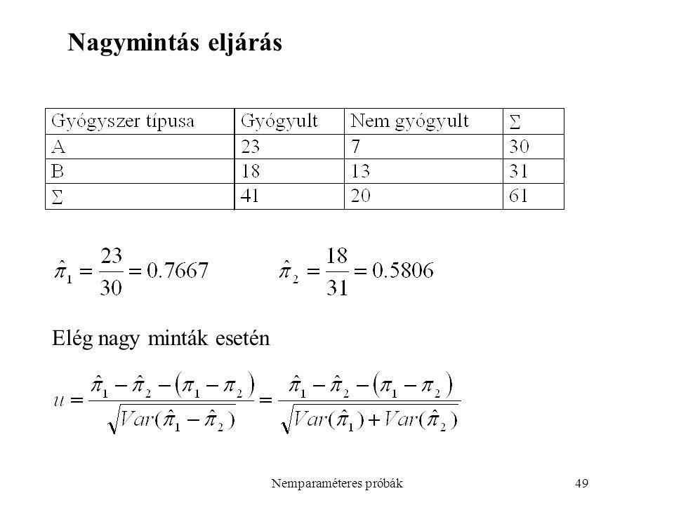 Nemparaméteres próbák49 Elég nagy minták esetén Nagymintás eljárás