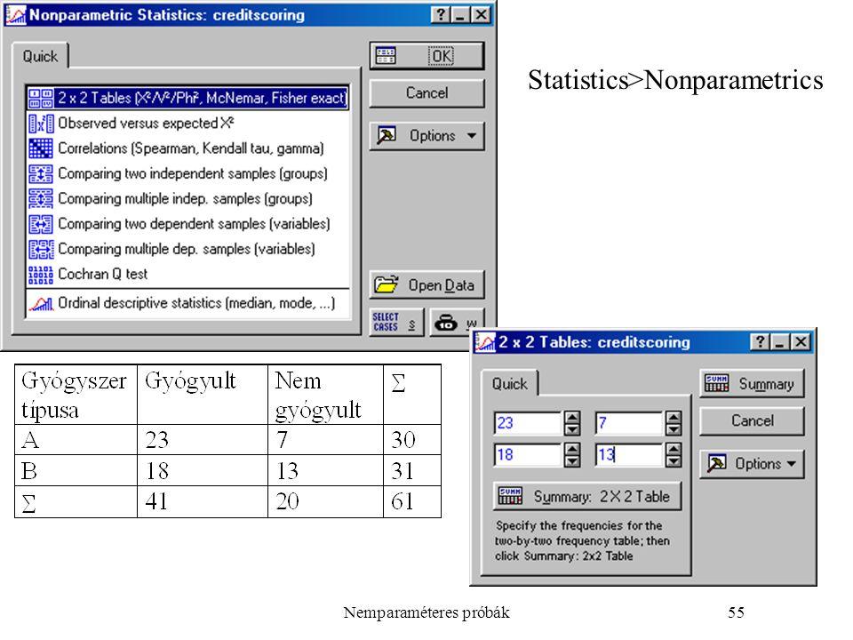 Nemparaméteres próbák55 Statistics>Nonparametrics