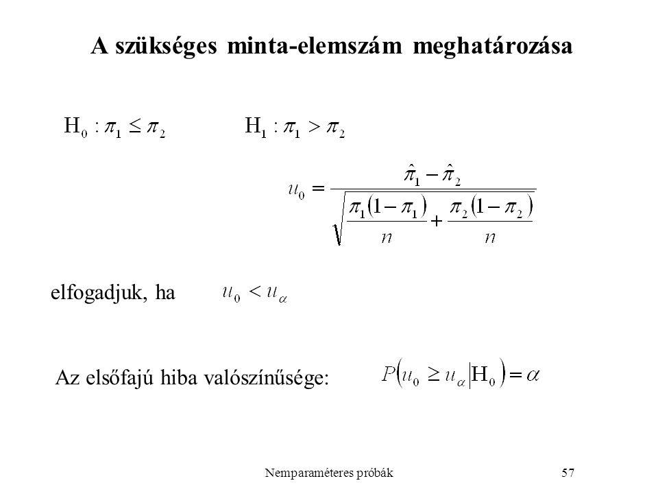 Nemparaméteres próbák57 A szükséges minta-elemszám meghatározása elfogadjuk, ha Az elsőfajú hiba valószínűsége: