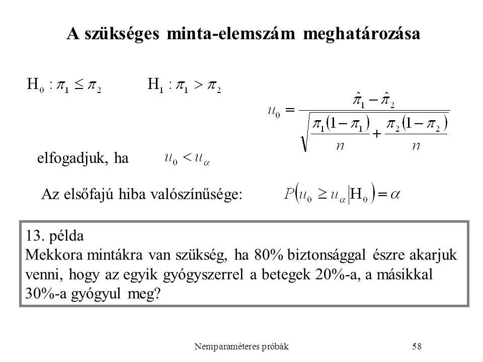 Nemparaméteres próbák58 A szükséges minta-elemszám meghatározása elfogadjuk, ha 13.