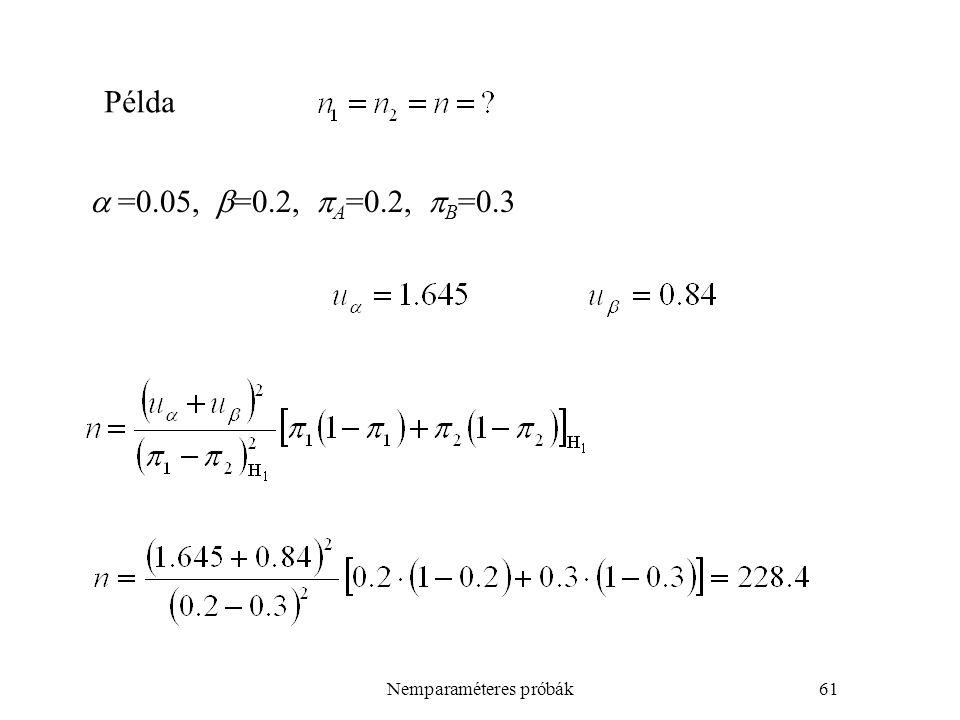 Nemparaméteres próbák61 Példa  =0.05,  =0.2,  A =0.2,  B =0.3