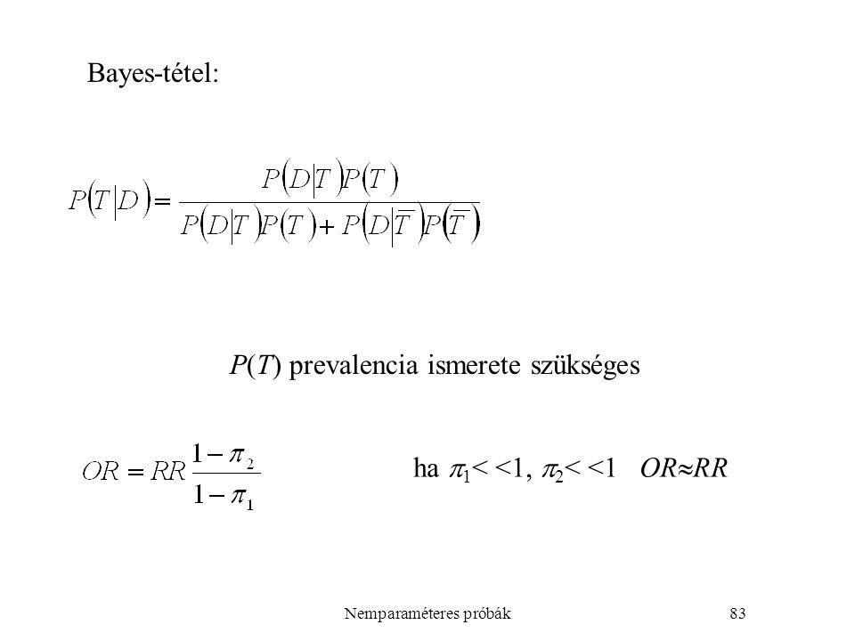 Nemparaméteres próbák83 P(T) prevalencia ismerete szükséges Bayes-tétel: ha  1 < <1,  2 < <1 OR  RR