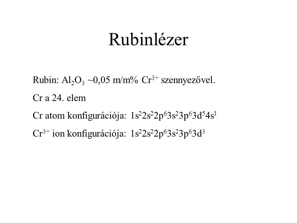 Rubinlézer Rubin: Al 2 O 3 ~0,05 m/m% Cr 3+ szennyezővel. Cr a 24. elem Cr atom konfigurációja: 1s 2 2s 2 2p 6 3s 2 3p 6 3d 5 4s 1 Cr 3+ ion konfigurá