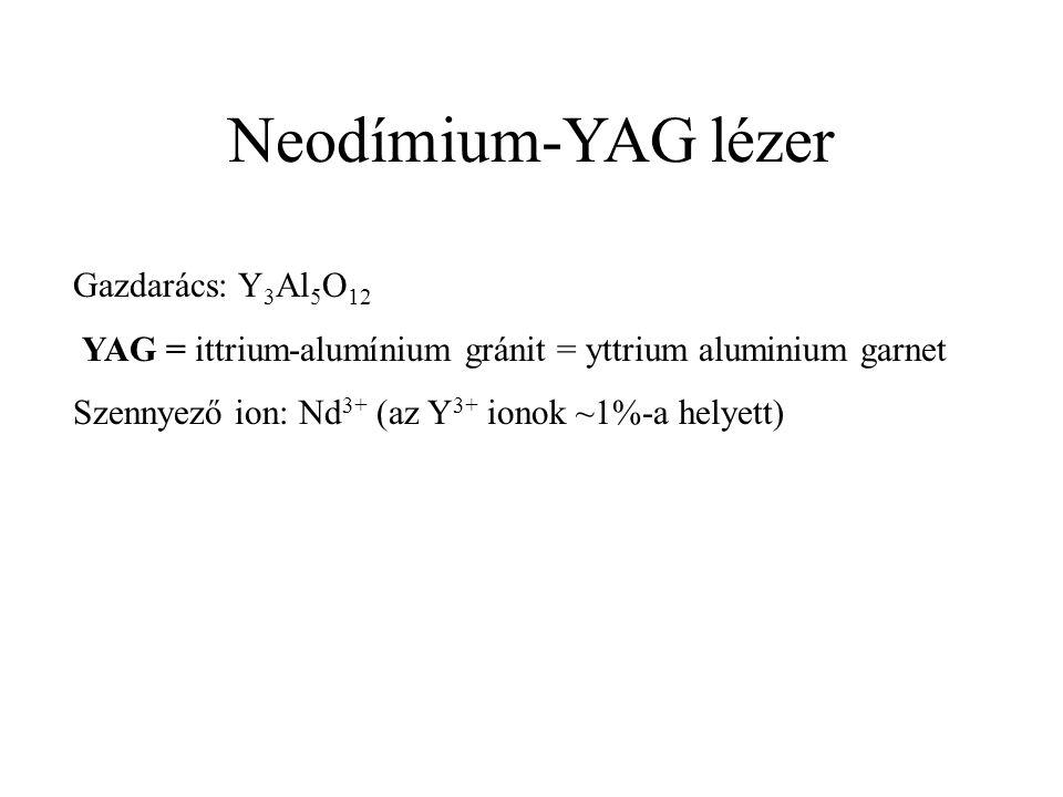 Neodímium-YAG lézer Gazdarács: Y 3 Al 5 O 12 YAG = ittrium-alumínium gránit = yttrium aluminium garnet Szennyező ion: Nd 3+ (az Y 3+ ionok ~1%-a helyett)