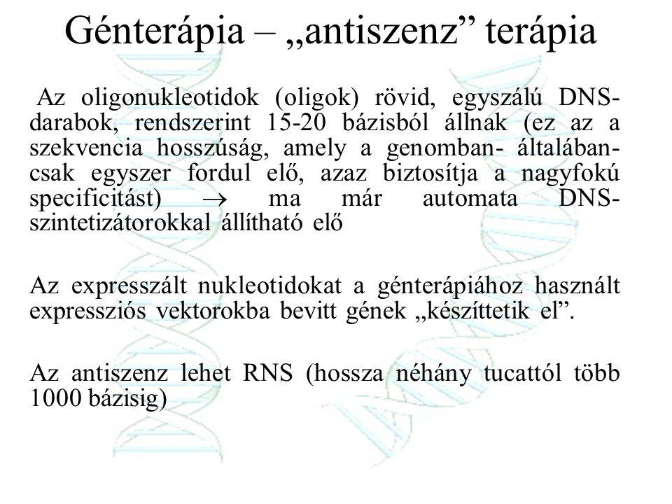 """Génterápia – """"antiszenz"""" terápia Az oligonukleotidok (oligok) rövid, egyszálú DNS- darabok, rendszerint 15-20 bázisból állnak (ez az a szekvencia hoss"""