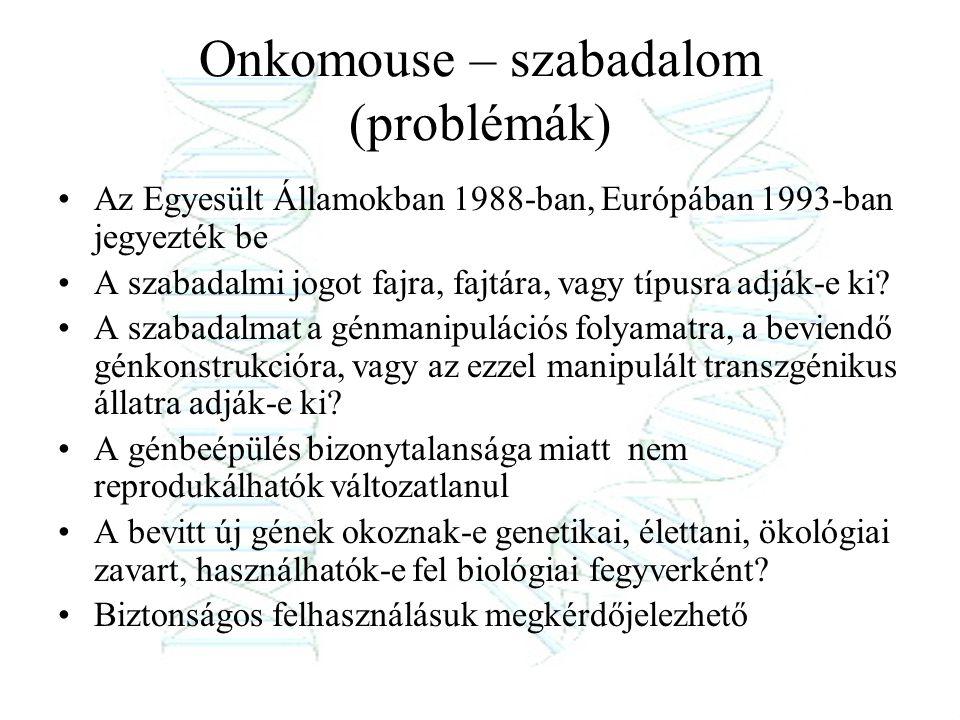 Onkomouse – szabadalom (problémák) Az Egyesült Államokban 1988-ban, Európában 1993-ban jegyezték be A szabadalmi jogot fajra, fajtára, vagy típusra ad