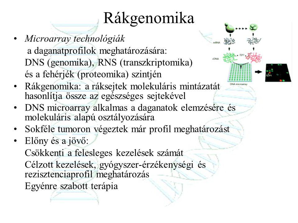 Rákgenomika Microarray technológiák a daganatprofilok meghatározására: DNS (genomika), RNS (transzkriptomika) és a fehérjék (proteomika) szintjén Rákg