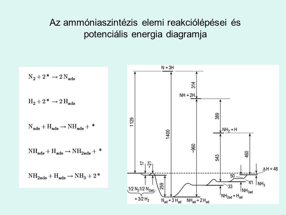 Az ammóniaszintézis elemi reakciólépései és potenciális energia diagramja
