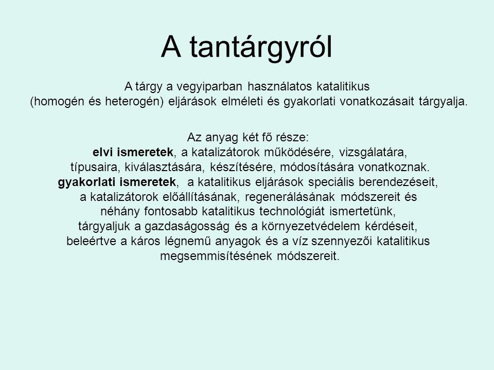 Felhasználható irodalom Erdey-Grúz, Schay: Elméleti fizikai kémia Szabó Z., Kalló D.: Kontakt katalízis G.C.