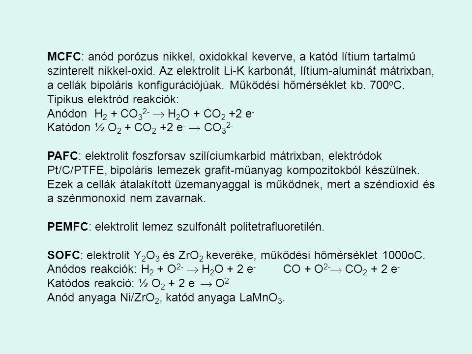 MCFC: anód porózus nikkel, oxidokkal keverve, a katód lítium tartalmú szinterelt nikkel-oxid. Az elektrolit Li-K karbonát, lítium-aluminát mátrixban,