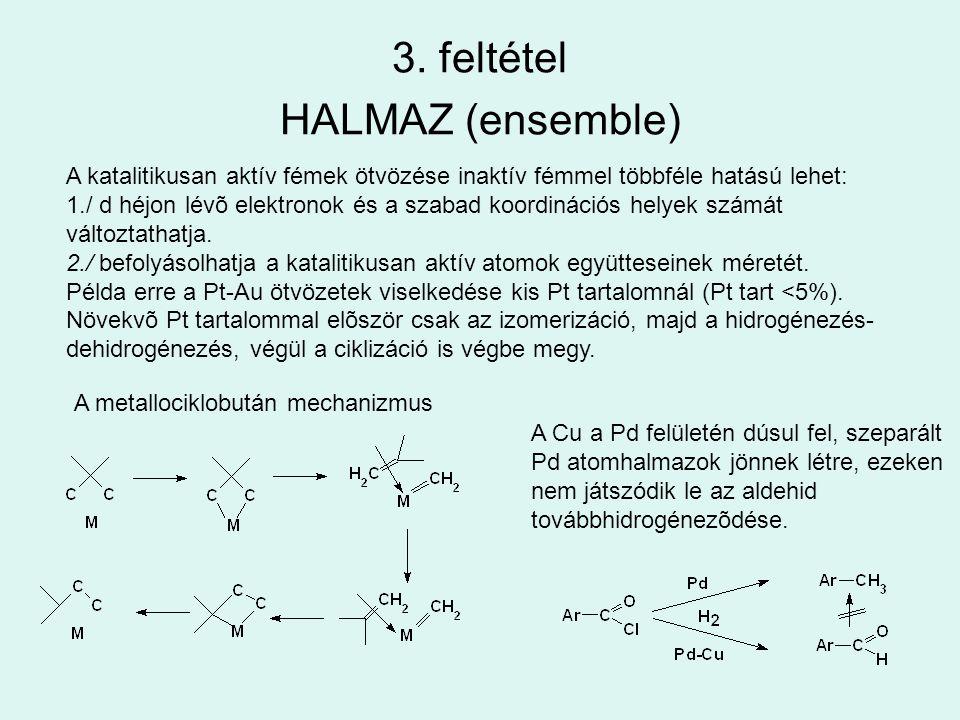 3. feltétel HALMAZ (ensemble) A katalitikusan aktív fémek ötvözése inaktív fémmel többféle hatású lehet: 1./ d héjon lévõ elektronok és a szabad koord
