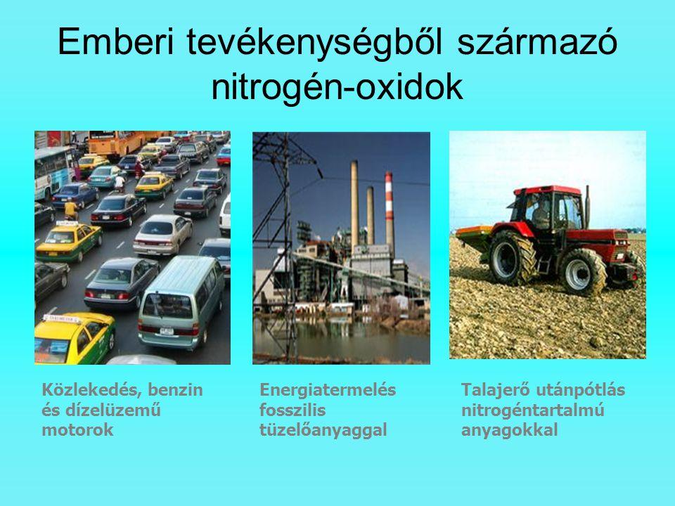 Emberi tevékenységből származó nitrogén-oxidok Közlekedés, benzin és dízelüzemű motorok Energiatermelés fosszilis tüzelőanyaggal Talajerő utánpótlás n