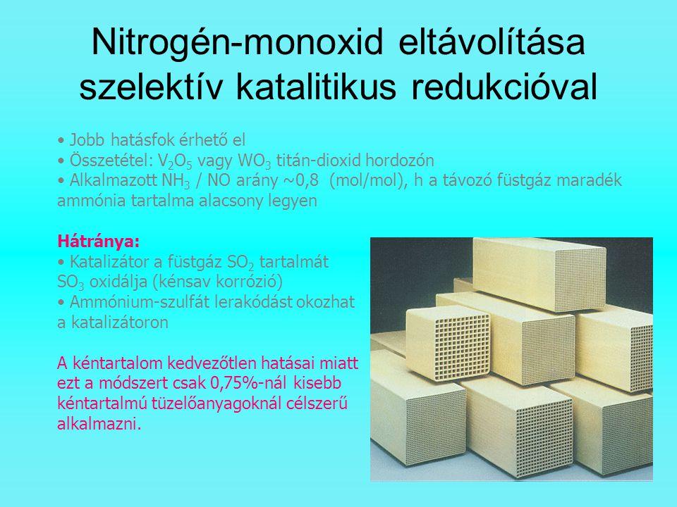 Nitrogén-monoxid eltávolítása szelektív katalitikus redukcióval Jobb hatásfok érhető el Összetétel: V 2 O 5 vagy WO 3 titán-dioxid hordozón Alkalmazot