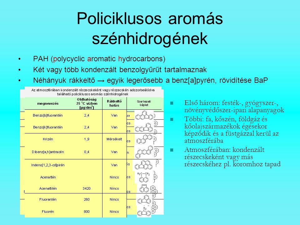 Policiklusos aromás szénhidrogének PAH (polycyclic aromatic hydrocarbons) Két vagy több kondenzált benzolgyűrűt tartalmaznak Néhányuk rákkeltő → egyik