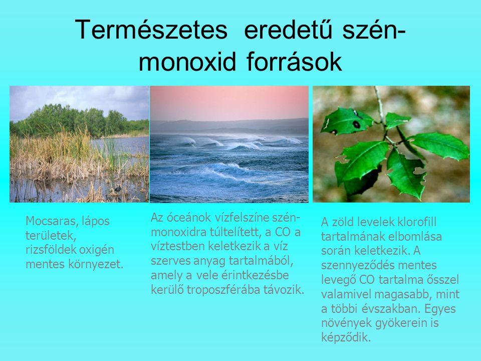 Természetes eredetű szén- monoxid források Mocsaras, lápos területek, rizsföldek oxigén mentes környezet. Az óceánok vízfelszíne szén- monoxidra túlte