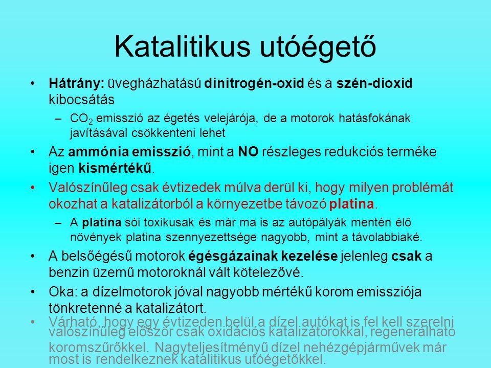 Katalitikus utóégető Hátrány: üvegházhatású dinitrogén-oxid és a szén-dioxid kibocsátás –CO 2 emisszió az égetés velejárója, de a motorok hatásfokának