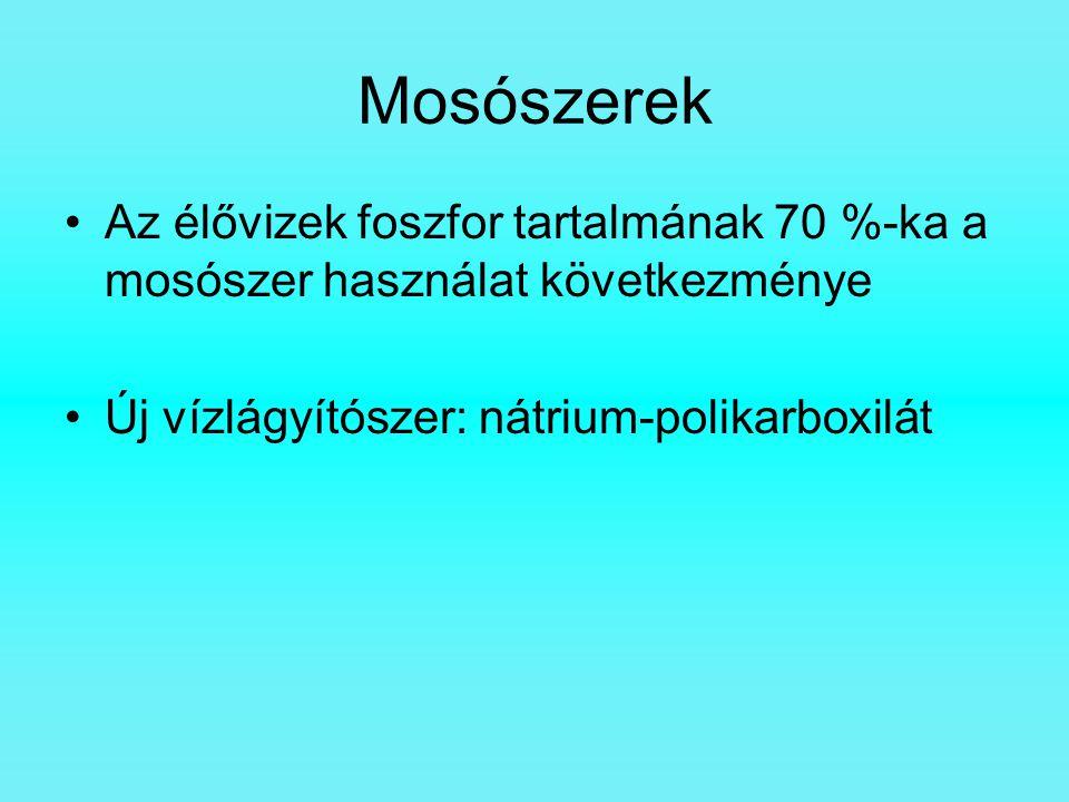 Mosószerek Az élővizek foszfor tartalmának 70 %-ka a mosószer használat következménye Új vízlágyítószer: nátrium-polikarboxilát