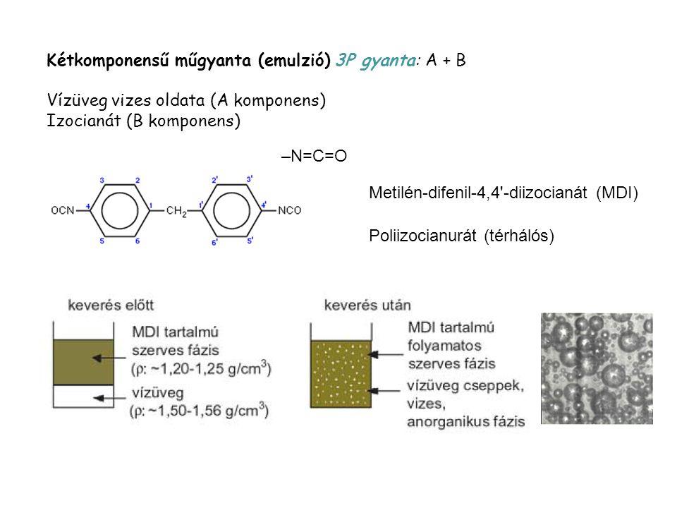 Kétkomponensű műgyanta (emulzió) 3P gyanta: A + B Vízüveg vizes oldata (A komponens) Izocianát (B komponens) –N=C=O Metilén-difenil-4,4'-diizocianát (