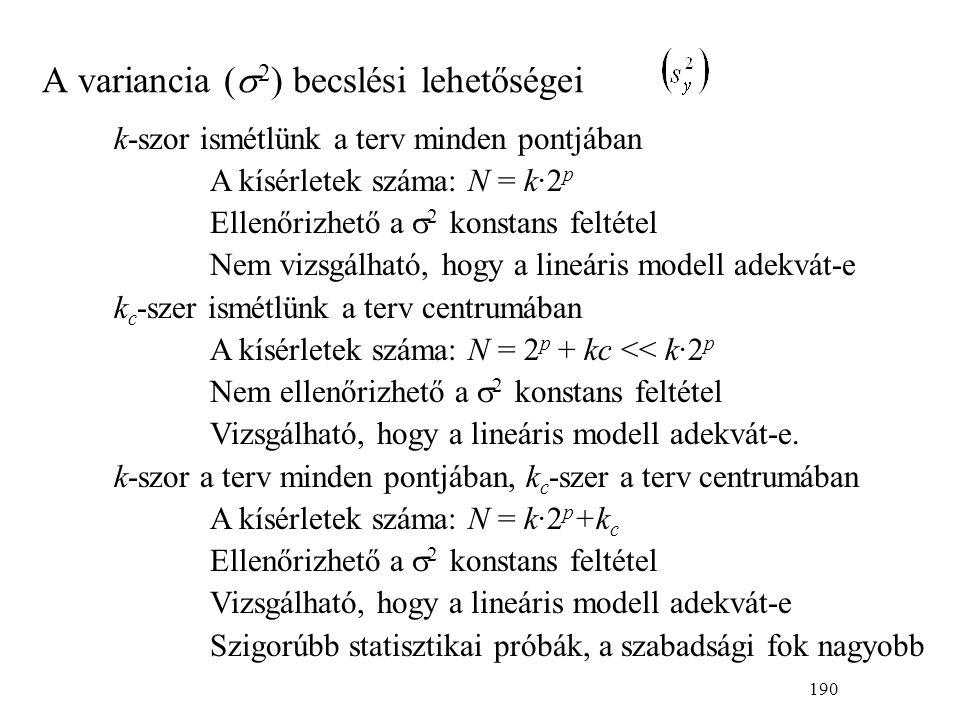 190 k-szor ismétlünk a terv minden pontjában A kísérletek száma: N = k·2 p Ellenőrizhető a  2 konstans feltétel Nem vizsgálható, hogy a lineáris modell adekvát-e k c -szer ismétlünk a terv centrumában A kísérletek száma: N = 2 p + kc << k·2 p Nem ellenőrizhető a  2 konstans feltétel Vizsgálható, hogy a lineáris modell adekvát-e.