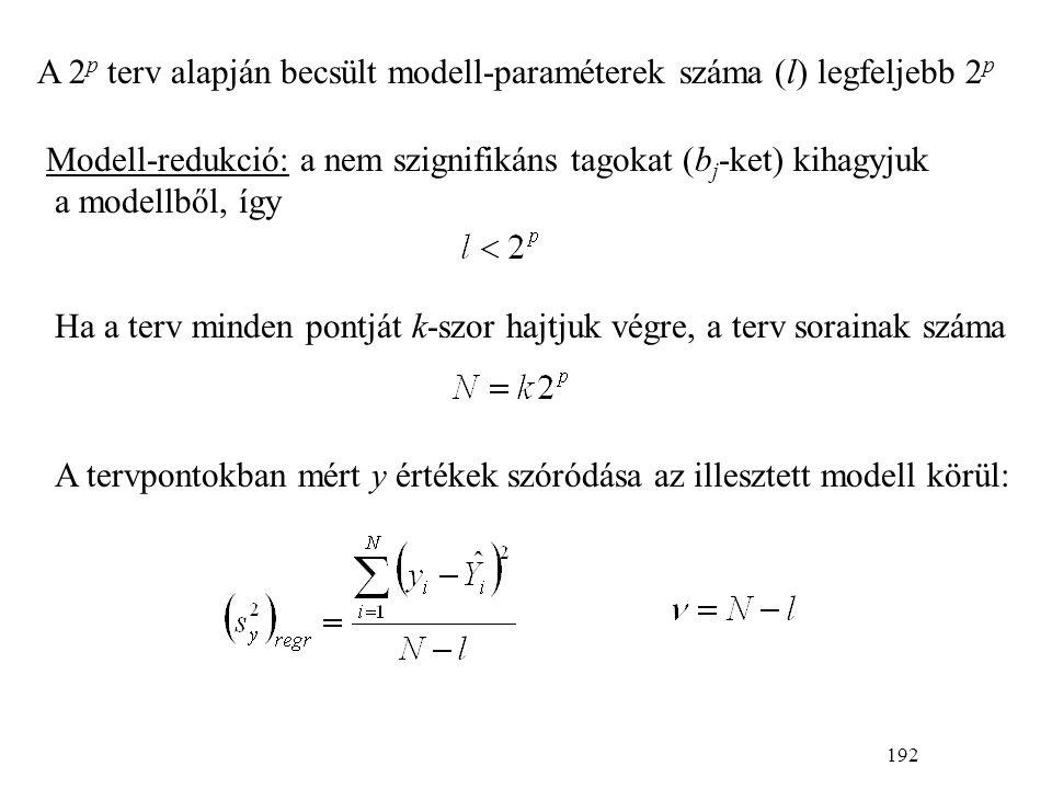 192 A 2 p terv alapján becsült modell-paraméterek száma (l) legfeljebb 2 p Modell-redukció: a nem szignifikáns tagokat (b j -ket) kihagyjuk a modellből, így Ha a terv minden pontját k-szor hajtjuk végre, a terv sorainak száma A tervpontokban mért y értékek szóródása az illesztett modell körül: