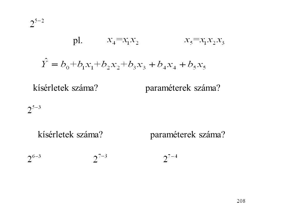208 pl. kísérletek száma?paraméterek száma?