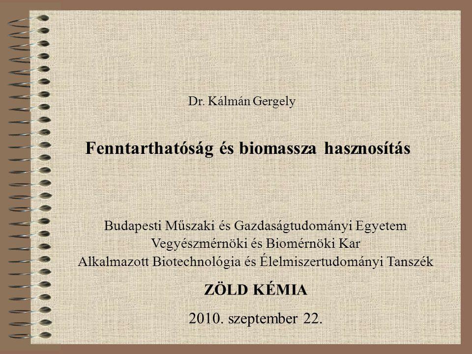 Fenntarthatóság és biomassza hasznosítás Dr. Kálmán Gergely Budapesti Műszaki és Gazdaságtudományi Egyetem Vegyészmérnöki és Biomérnöki Kar Alkalmazot