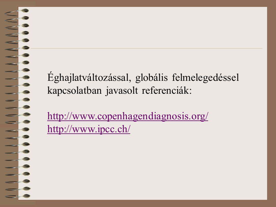 Éghajlatváltozással, globális felmelegedéssel kapcsolatban javasolt referenciák: http://www.copenhagendiagnosis.org/ http://www.ipcc.ch/