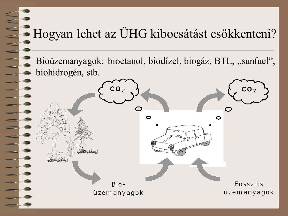 """Bioüzemanyagok: bioetanol, biodízel, biogáz, BTL, """"sunfuel"""", biohidrogén, stb. Hogyan lehet az ÜHG kibocsátást csökkenteni?"""